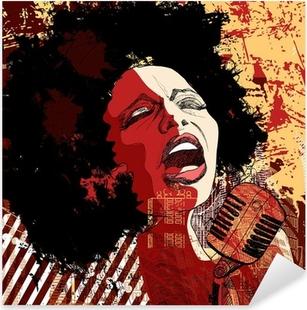 Sticker Pixerstick Chanteuse de jazz sur le fond grunge