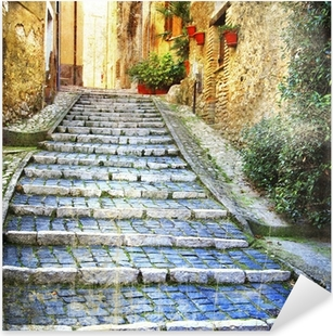 charming old streets of medieval villages of Italy Pixerstick Sticker