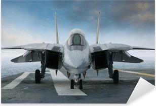 Sticker Pixerstick Chasse F-14 jet sur un pont de porte-avions vu de face