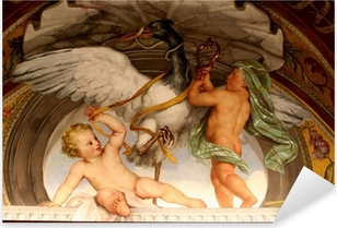 Cherubs playing with a goose Painting - Vatican Museum Pixerstick Sticker