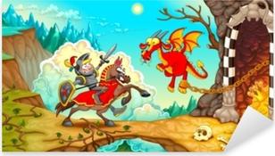 Sticker Pixerstick Chevalier combattant le dragon avec un trésor dans un paysage de montagne