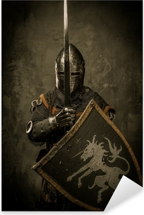 Sticker Pixerstick Chevalier médiéval sur fond gris