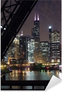 chicago city night view - from a bridge over the chicago river Pixerstick Sticker