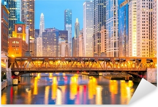 Pixerstick Sticker Chicago downtown en de rivier