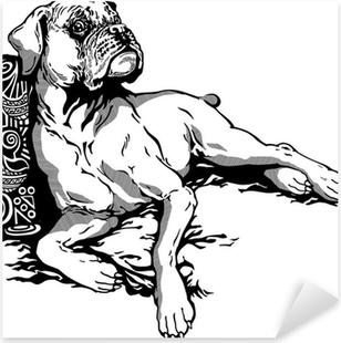 Sticker Pixerstick Chien boxer blanc noir