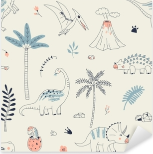 Childish seamless pattern with hand drawn dino in scandinavian style. Creative vector kid-like background for fabric, textile, apparel and more Pixerstick Sticker