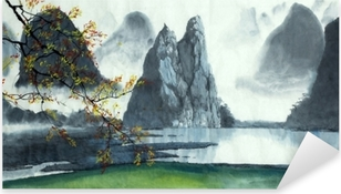 Pixerstick Sticker Chinese bergen, mist, meer