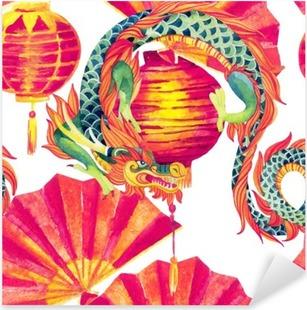 Pixerstick Sticker Chinese Draak aquarel naadloos patroon.