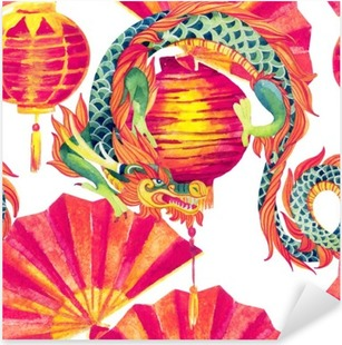 Chinese Dragon watercolor seamless pattern. Pixerstick Sticker