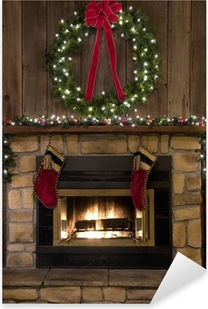 Christmas Fireplace Hearth with Wreath and Stockings Pixerstick Sticker