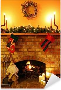 Christmas Fireside Pixerstick Sticker