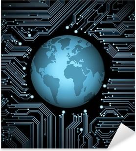 circuit board globe Pixerstick Sticker