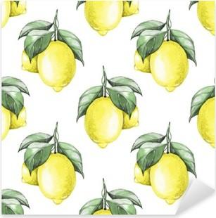 Sticker Pixerstick Citrons. Aquarelle seamless pattern 1