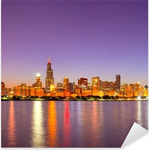 City of Chicago USA, sunset colorful panorama skyline Pixerstick Sticker