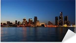 City skyline at night - Detroit, Michigan Pixerstick Sticker