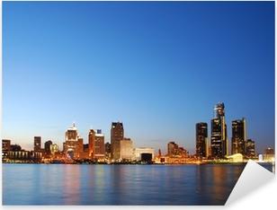 City skyline by night (Detroit, Michigan) Pixerstick Sticker