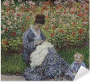 Pixerstick Sticker Claude Monet - Camille Monet met een kind in de tuin van de kunstenaar in Argenteuil