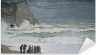 Sticker Pixerstick Claude Monet - Mer agitée à Etretat