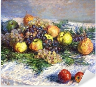 Claude Monet - Pears and Grapes. Still LIfe with Fruits Pixerstick Sticker