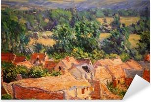 Claude Monet - View on Village of Giverny Pixerstick Sticker