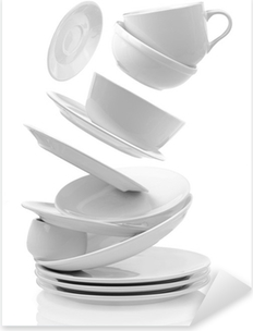 Clean empty plates and cups isolated on white Pixerstick Sticker