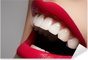 Close-up happy female smile with healthy white teeth Pixerstick Sticker