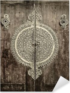 close-up image of ancient doors Pixerstick Sticker