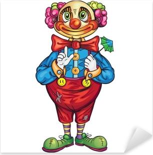 Sticker Pixerstick Clown drôle de bande dessinée sur un fond blanc