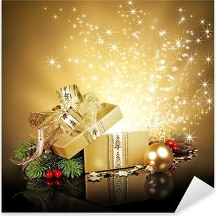 Sticker Pixerstick Coffret cadeau surprise de Noël, explosant avec brille et les étoiles