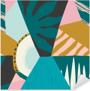 Sticker Pixerstick Collage contemporain motif floral sans soudure.