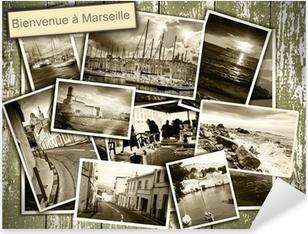 Pixerstick Sticker Collage uitzicht op Marseille, zwart-wit foto's op een houten b