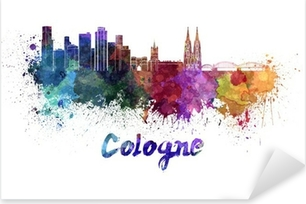 Cologne skyline in watercolor Pixerstick Sticker