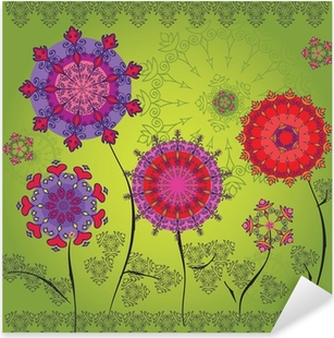 Colored mandala flowers on a green background Pixerstick Sticker