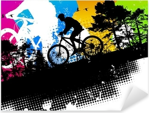 Colored mountain bike abstract background Pixerstick Sticker