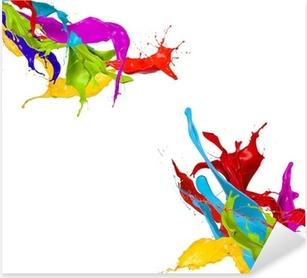 Colorful Paint Splash Isolated On White Abstract Splashing Sticker