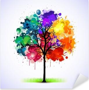 Sticker Pixerstick Colorful abstrait arbre