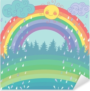 Colorful background with a rainbow, rain, sun in cartoon style Pixerstick Sticker