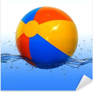 Colorful beach ball floating in water Pixerstick Sticker