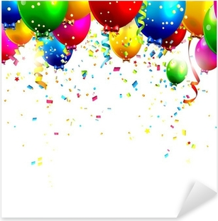 Colorful birthday balloons and confetti - vector background Pixerstick Sticker