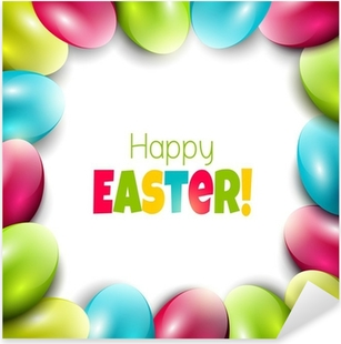 Colorful Easter background with eggs and place for text Pixerstick Sticker