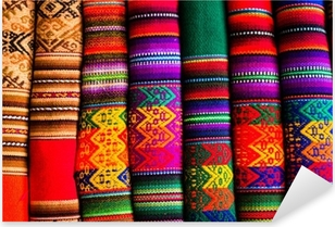 Colorful Fabric at market in Peru, South America Pixerstick Sticker