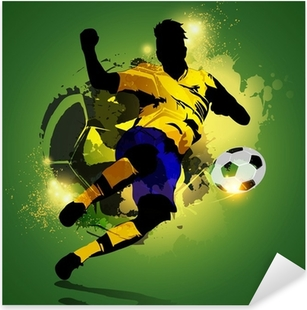 Colorful soccer player shooting Pixerstick Sticker