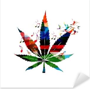Sticker Pixerstick Colorful vecteur feuille de cannabis avec colibris fond