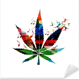 Colorful vector cannabis leaf with hummingbirds background Pixerstick Sticker