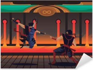 Sticker Pixerstick Combats de personnages de jeux vidéo