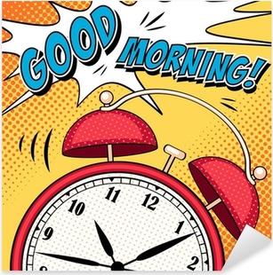 Comic illustration with alarm clock in pop art style Pixerstick Sticker