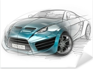 Concept car sketch. Original car design. Pixerstick Sticker