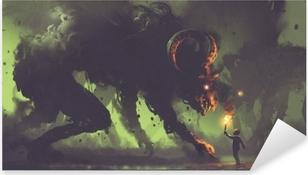 Sticker Pixerstick Concept fantastique sombre montrant le garçon avec une torche face à des monstres de fumée avec des cornes de démon, style art numérique, illustration peinture