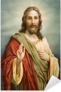 Copy of typical catholic image of Jesus Christ Pixerstick Sticker