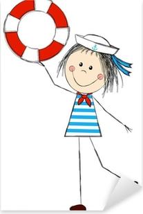 Sticker Pixerstick Costume de marin de fille portant drôle